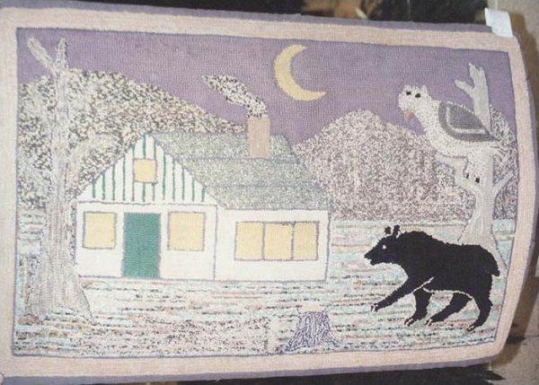 BEAR OUTSIDE A HOUSE ANTIQUE HOOKED RUG