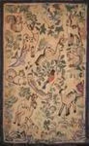 DEER AND SQUIRRELS ANTIQUE HOOKED RUG