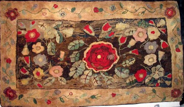Superior Hearth Antique Hooked Rug Bold Florals Early New England   Hooked Rugs  Cheticamp