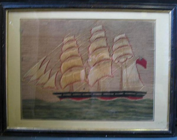 SAILOR'S WOOLIE OF A RED HULLED SHIP ANTIQUE NEEDLEWORK PICTURE