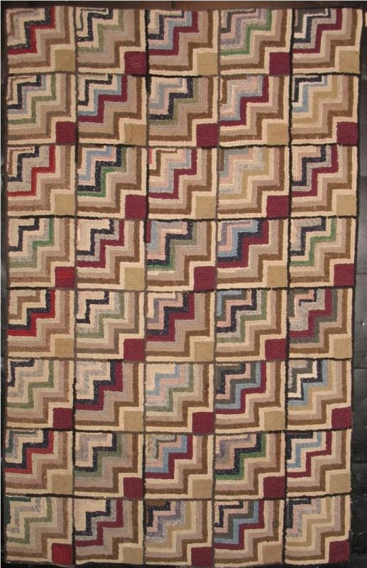 STAIR STEPS ANTIQUE HOOKED RUG