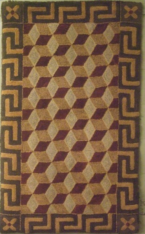 TUMBLING BLOCKS GREEK KEY BORDER ANTIQUE HOOKED  RUG