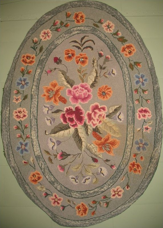 PEARL MCGOWN FLORAL OVAL VINTAGE HOOKED RUG