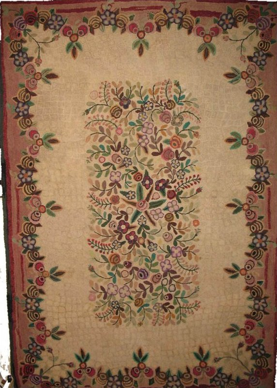 FLORAL CENTER AND BORDER, 'TERRAZZO' GROUND ROOM SIZE ANTIQUE HOOKED RUG