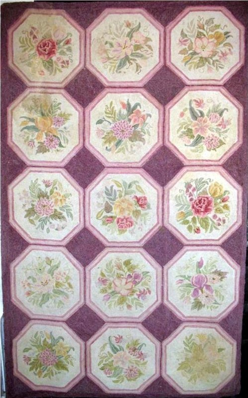 FLORAL OCTAGONS VINTAGE HOOKED RUG - Pearl McGown