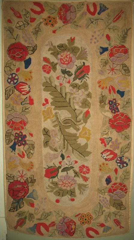 View Large Image · FLORAL SPRAY FLORAL BORDER ANTIQUE HOOKED RUG