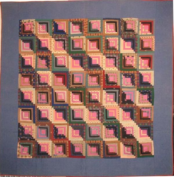 LOG CABIN 'STRAIGHT FURROW' ANTIQUE QUILT, blue border