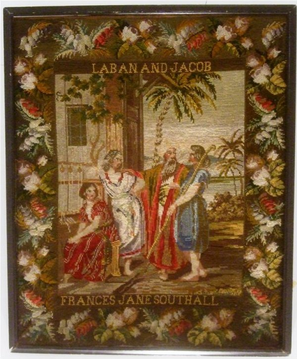 LABAN AND JACOB ANTIQUE NEEDLEWORK PICTURE, Frances Jane Southall
