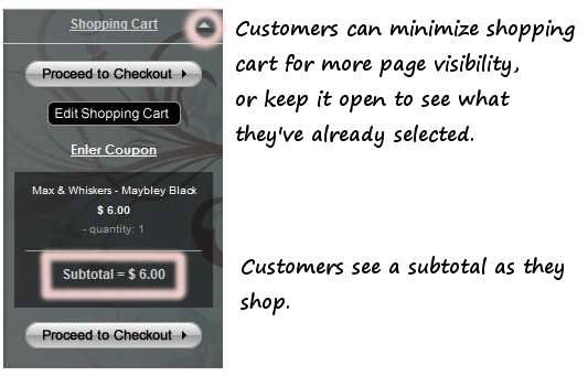 Our shopping cart is easy for customers to use.