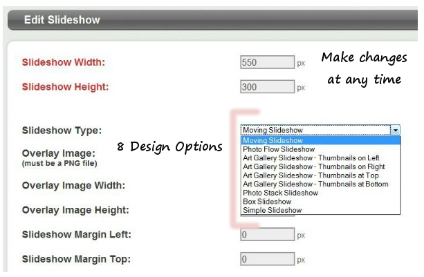 Choose from 8 designs when creating a slideshow.