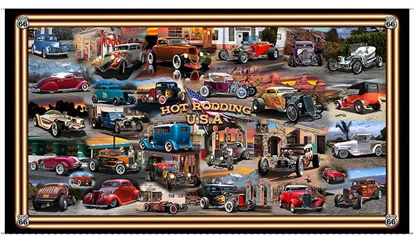 Quilting Treasures - Artworks III-Hot Rodding USA-DIGITAL Panel - 24987-X