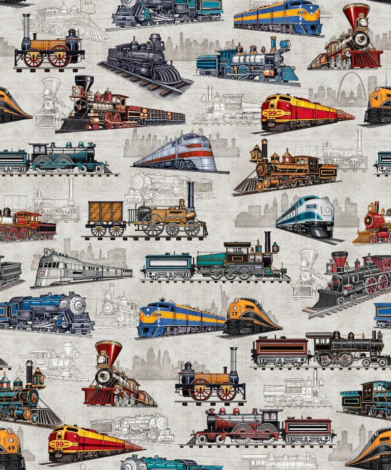 Free quilt patterns designer fabric popular fabric for Fabric with trains pattern