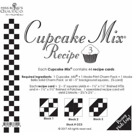 Cupcake Recipe #3 - Miss Rosie's Quilt Company/44 Recipe cards - CC3