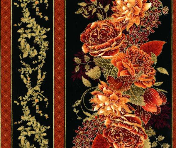 Timeless Treasures Eden Floral Border Stripe Metallic