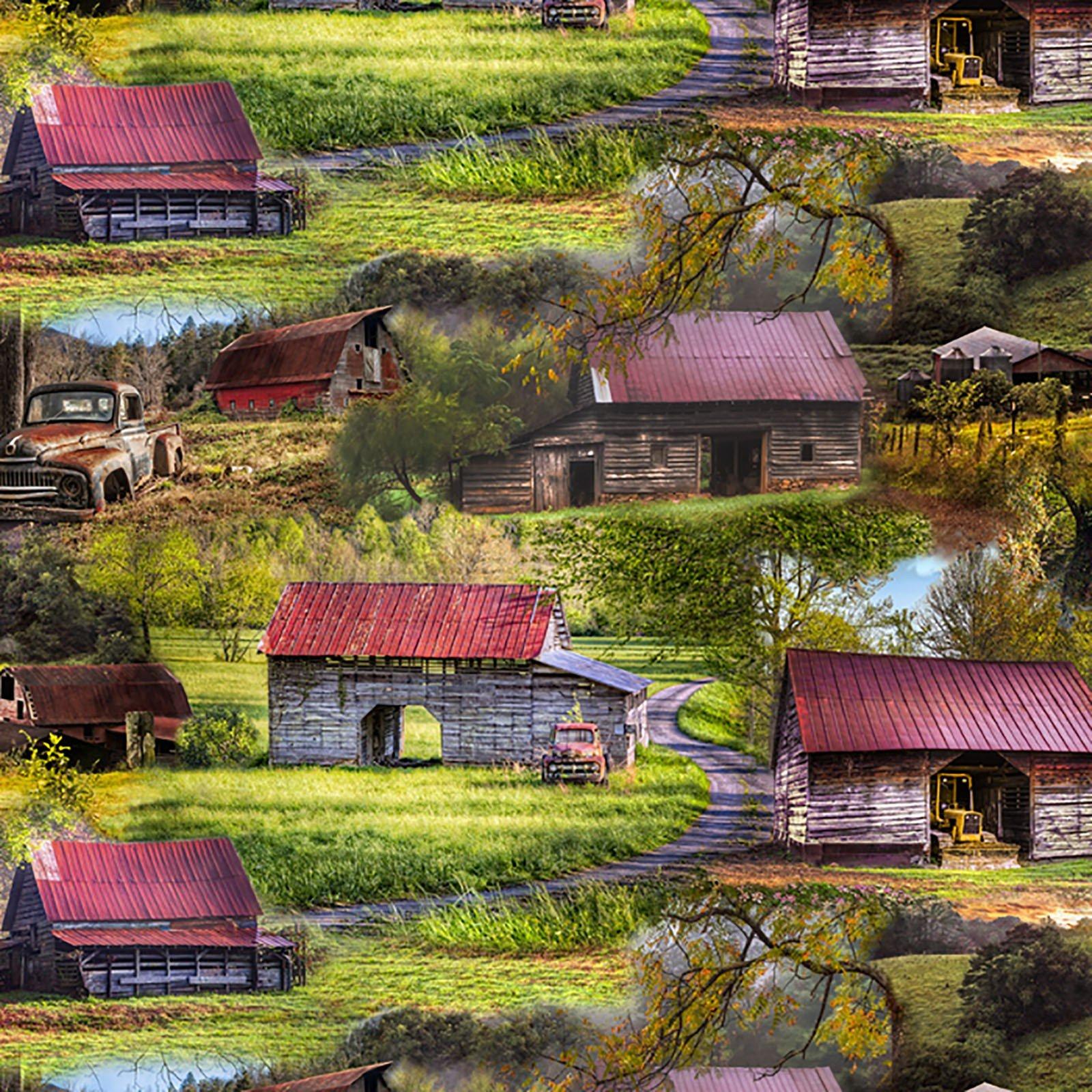 David Textiles - Country Animals-Barns & Tractors DIGITAL - 3399-7C-1