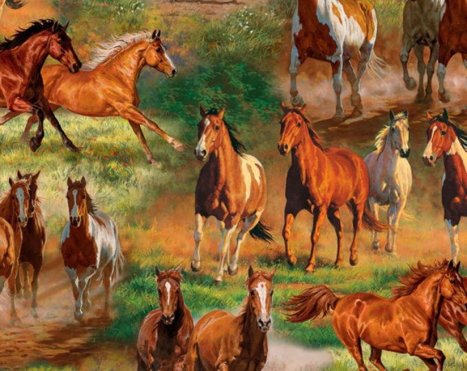 David Textiles - Animal Reign-Horses In The Meadow Scenic - DIGITAL - 3065-6C-1