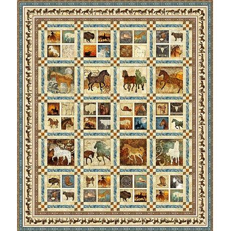 Unbridled Quilt KIT/CREAM - Quilting Treasures - 65 x 77