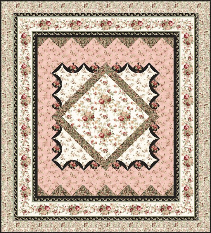 Sanctuary medallion bed quilt pattern for Bed quilting designs