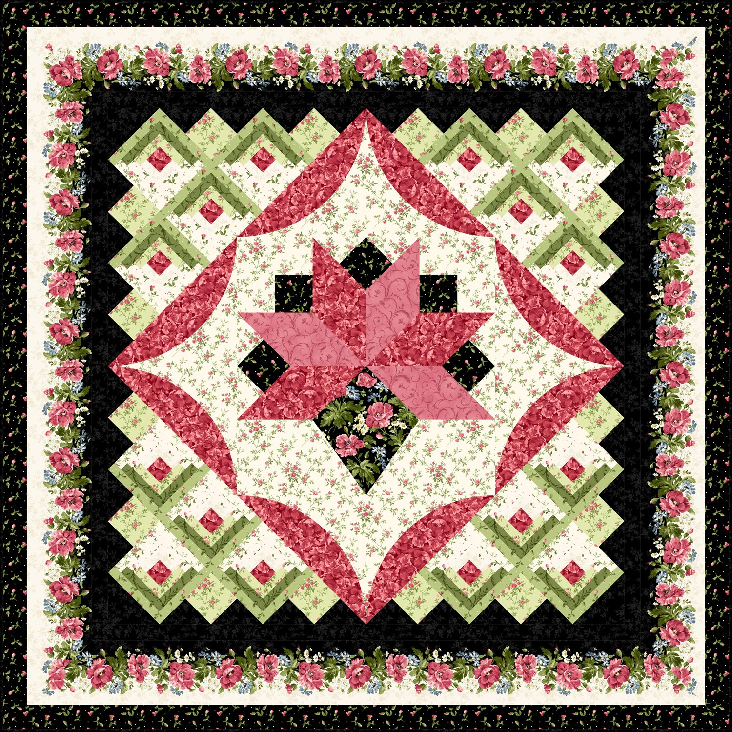 Medallion bed quilt designs for Bed quilting designs