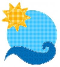 Patchwork Sun and Wave Applique