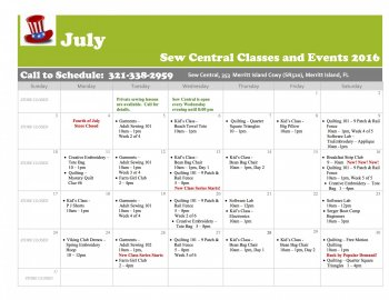 JULY Class Calendar Sew Central