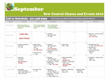 JULY Class Calendar Sew Central