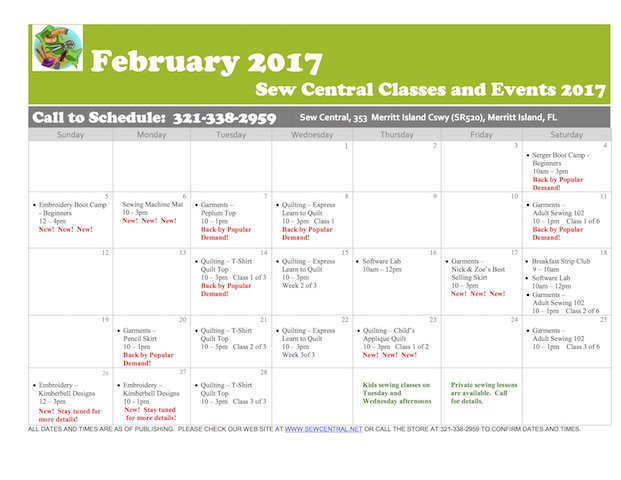 November Class Calendar Sew Central