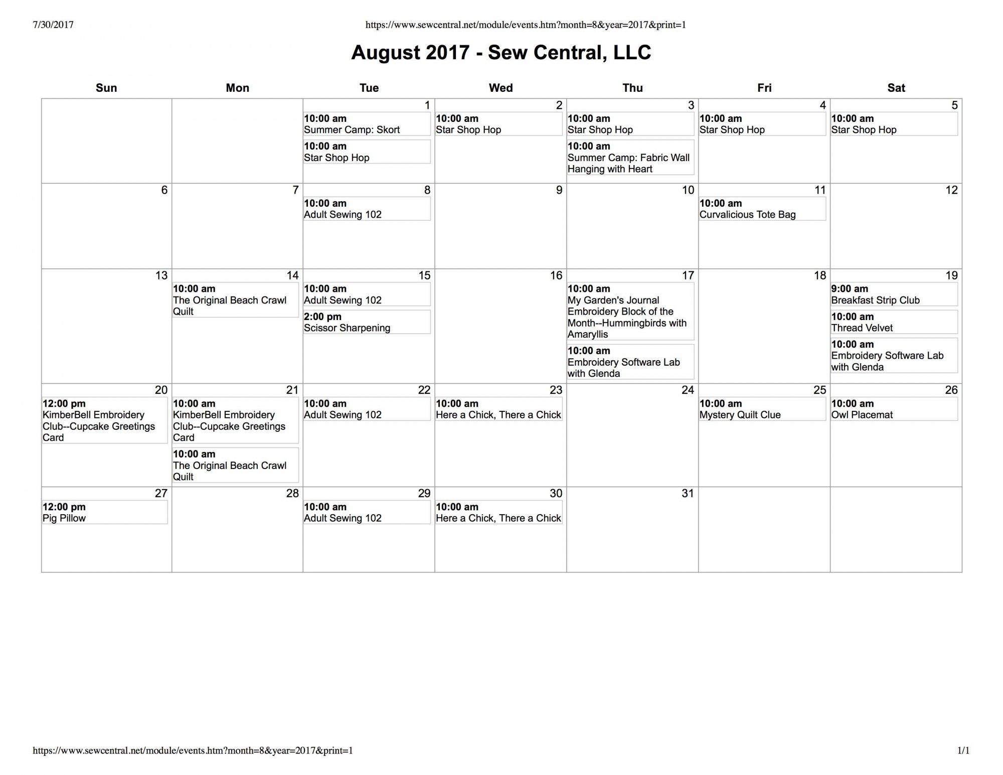 August Class Calendar Sew Central