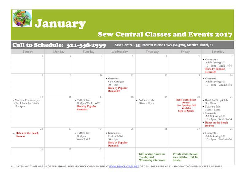 November Class Calendar Sew Central