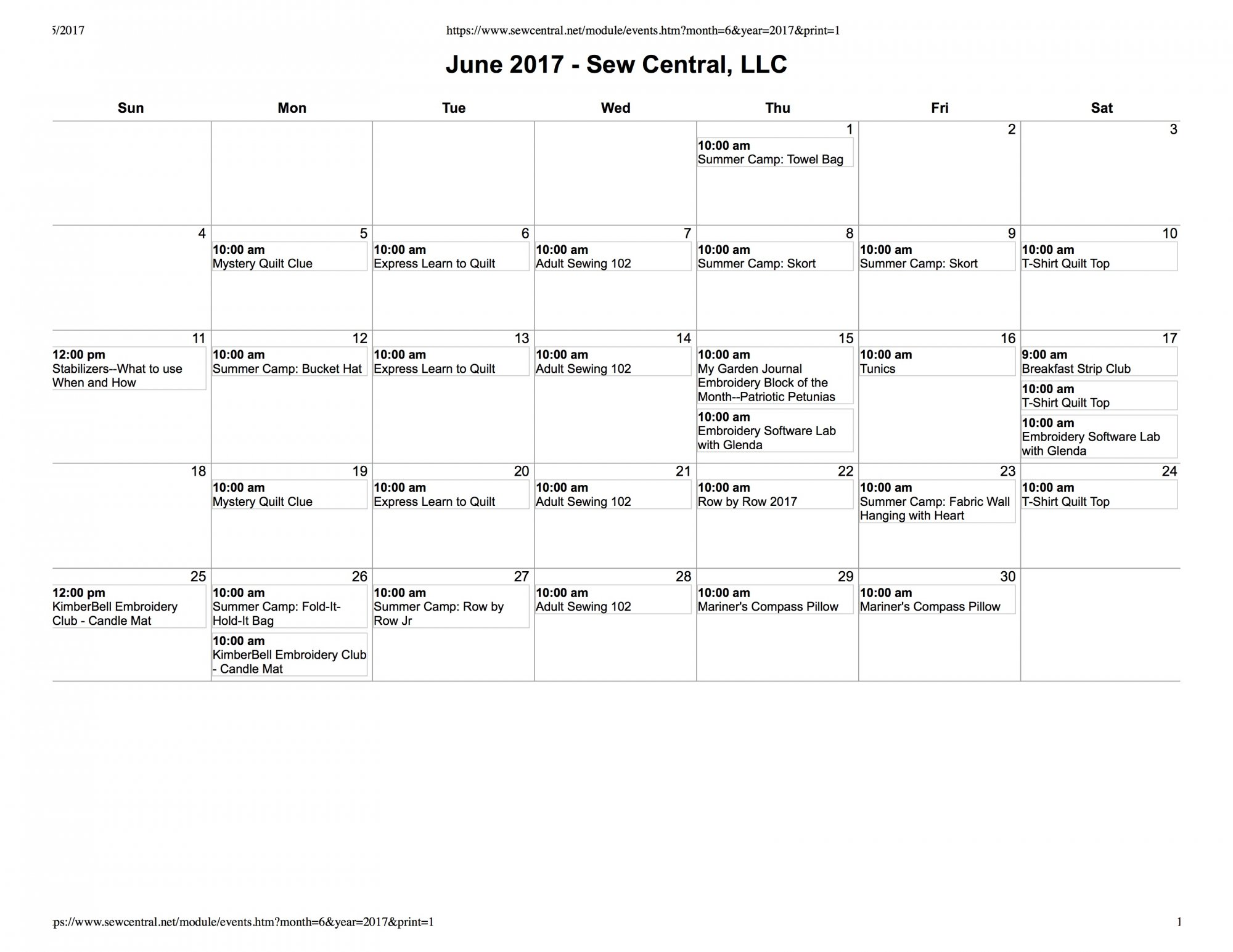 June - July Class Calendar Sew Central