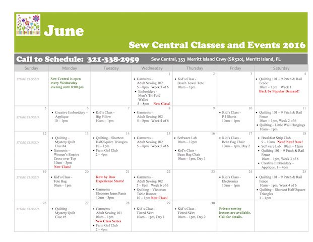 March Class Calendar Sew Central