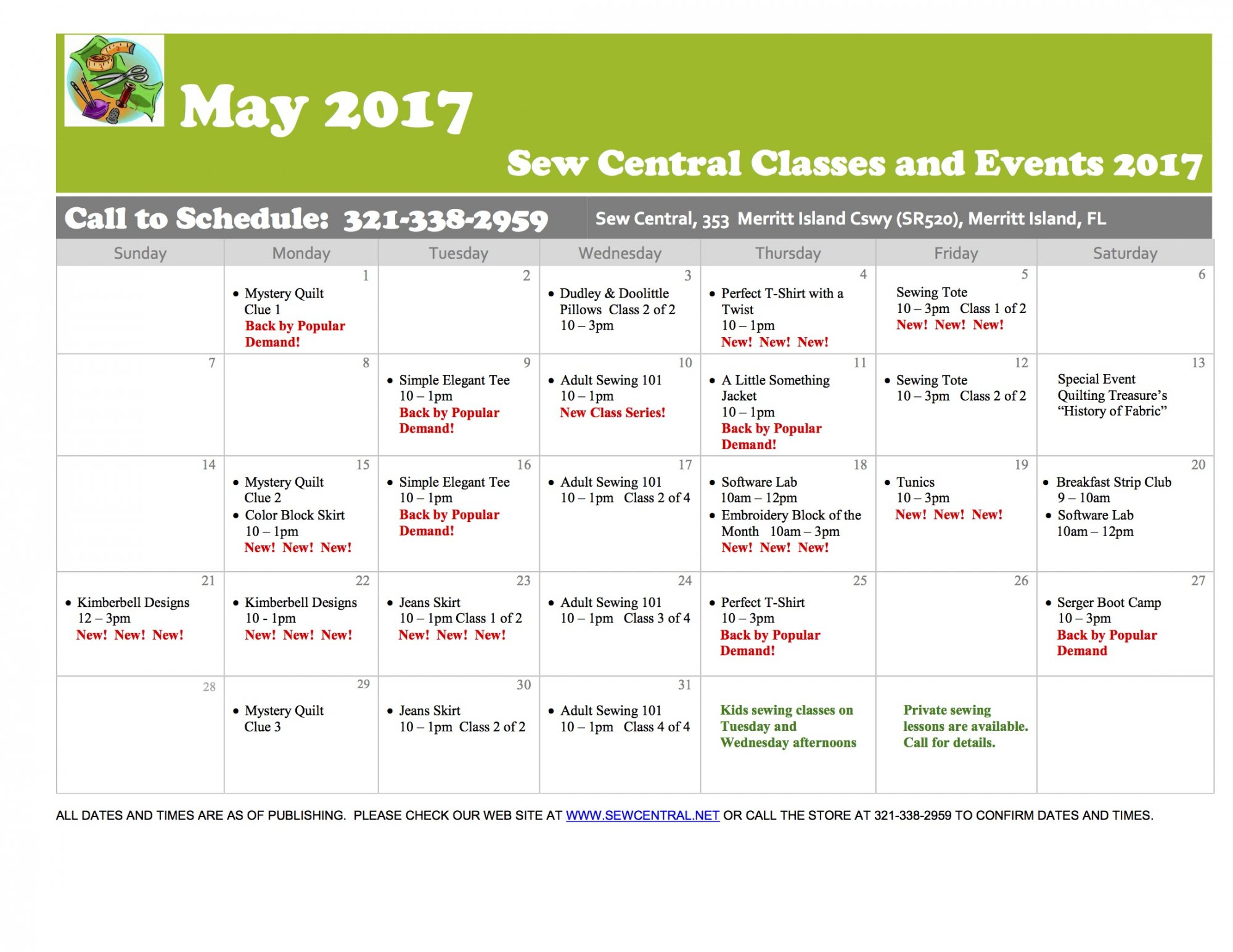 March and April Class Calendar Sew Central