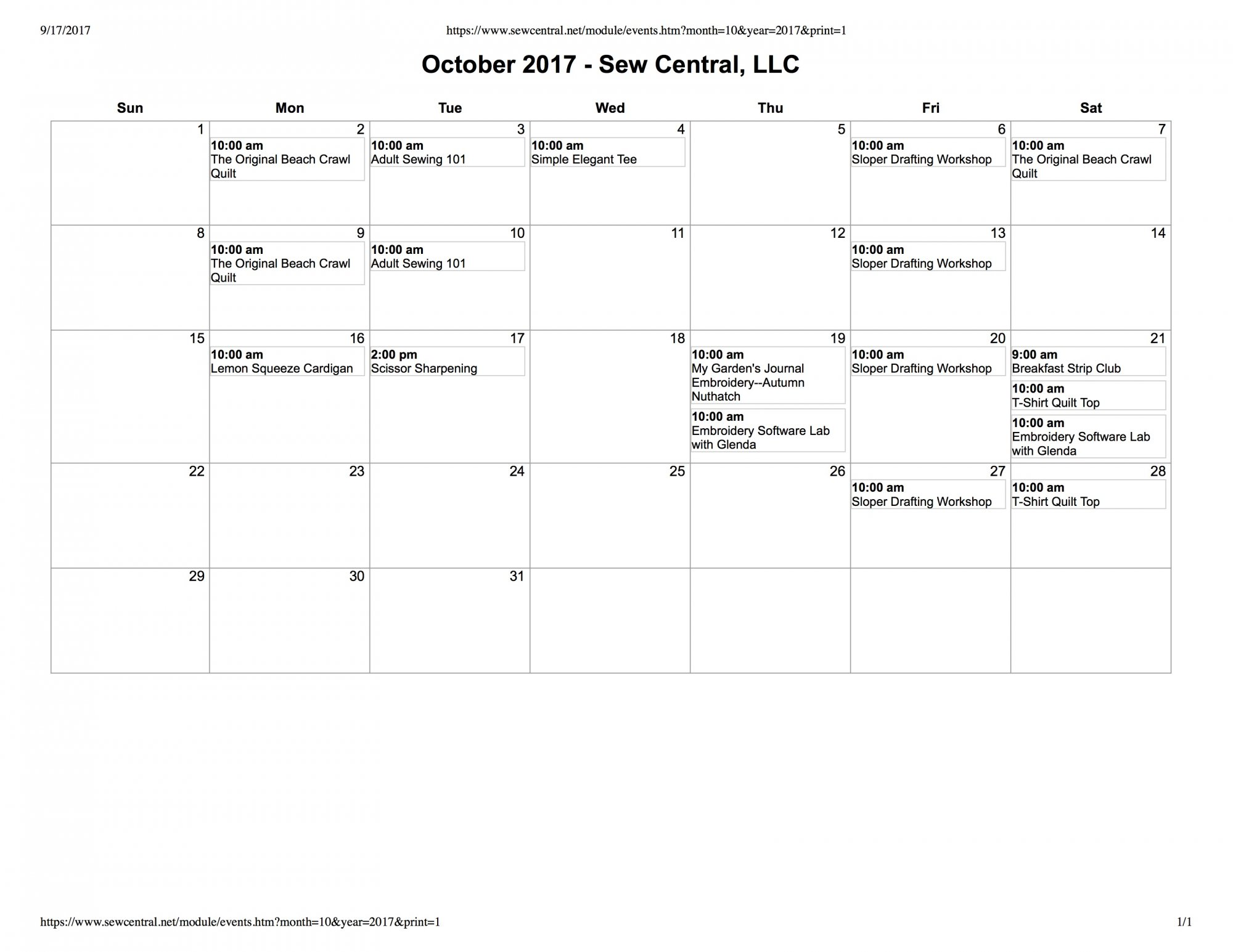 August Class Calendar Sew Central