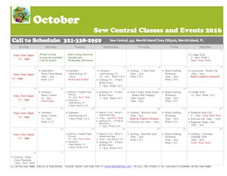 October Class Calendar Sew Central
