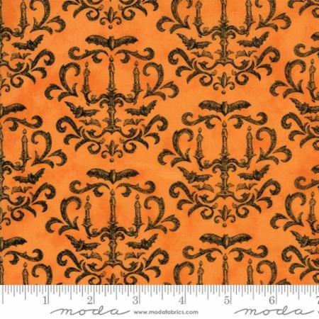 Eerily Elegant Vintage Pumpkin Orange Damask 19812 13 by Deb Strain for Moda