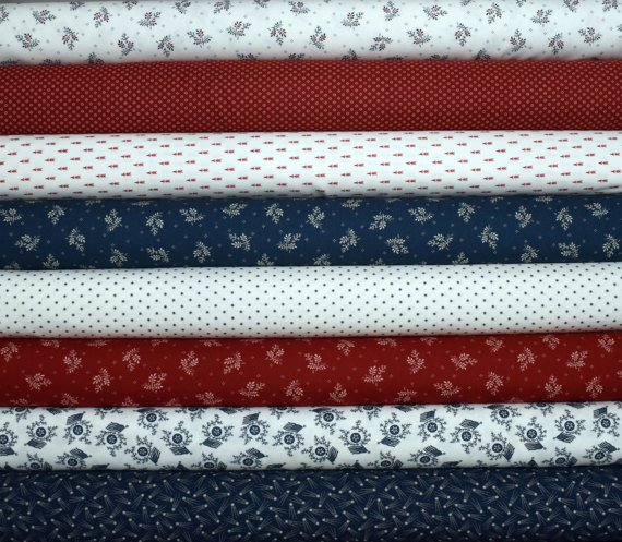 Liberty Gatherings Fat Quarter Bundle of 8 by Primitive Gatherings for Moda