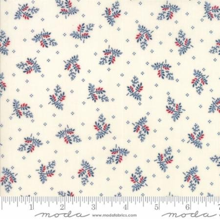 Liberty Gatherings Tallow with Red, Blue Branches 1202 21 by Primitive Gatherings for Moda