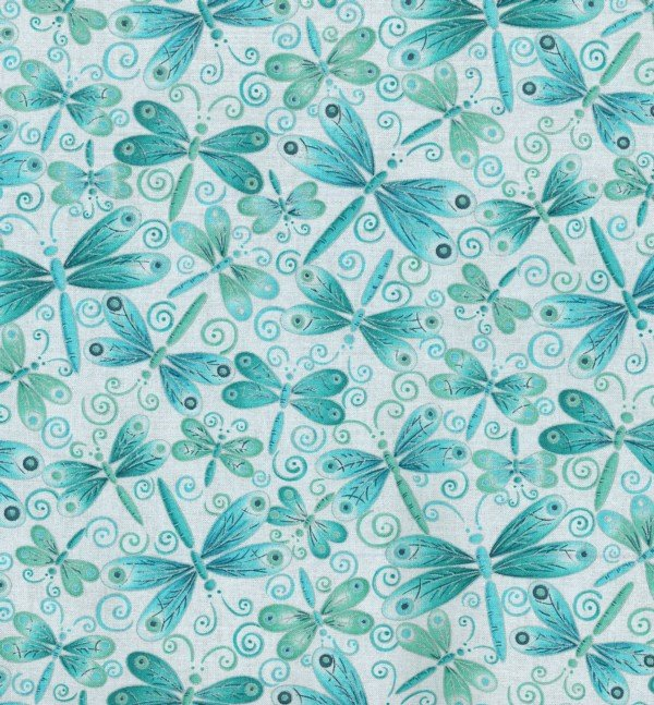 M5218 White Background W Teal Dragonflies