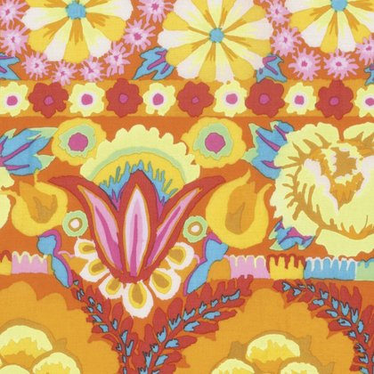 Kaffe Fassett - Artisan - Embroidered Flower Border - Yellow Item # PWKF001.YELLO