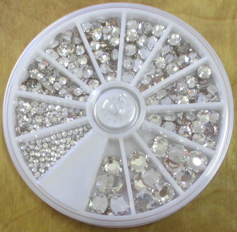 Multi-size Crystal #001 pack Swarovski Flat Back Hotfix Variety Pack - 6ss/2mm, 8ss/2.5mm, 10ss/3mm, 16ss/4mm, 20ss/5mm, & 34ss/7mm
