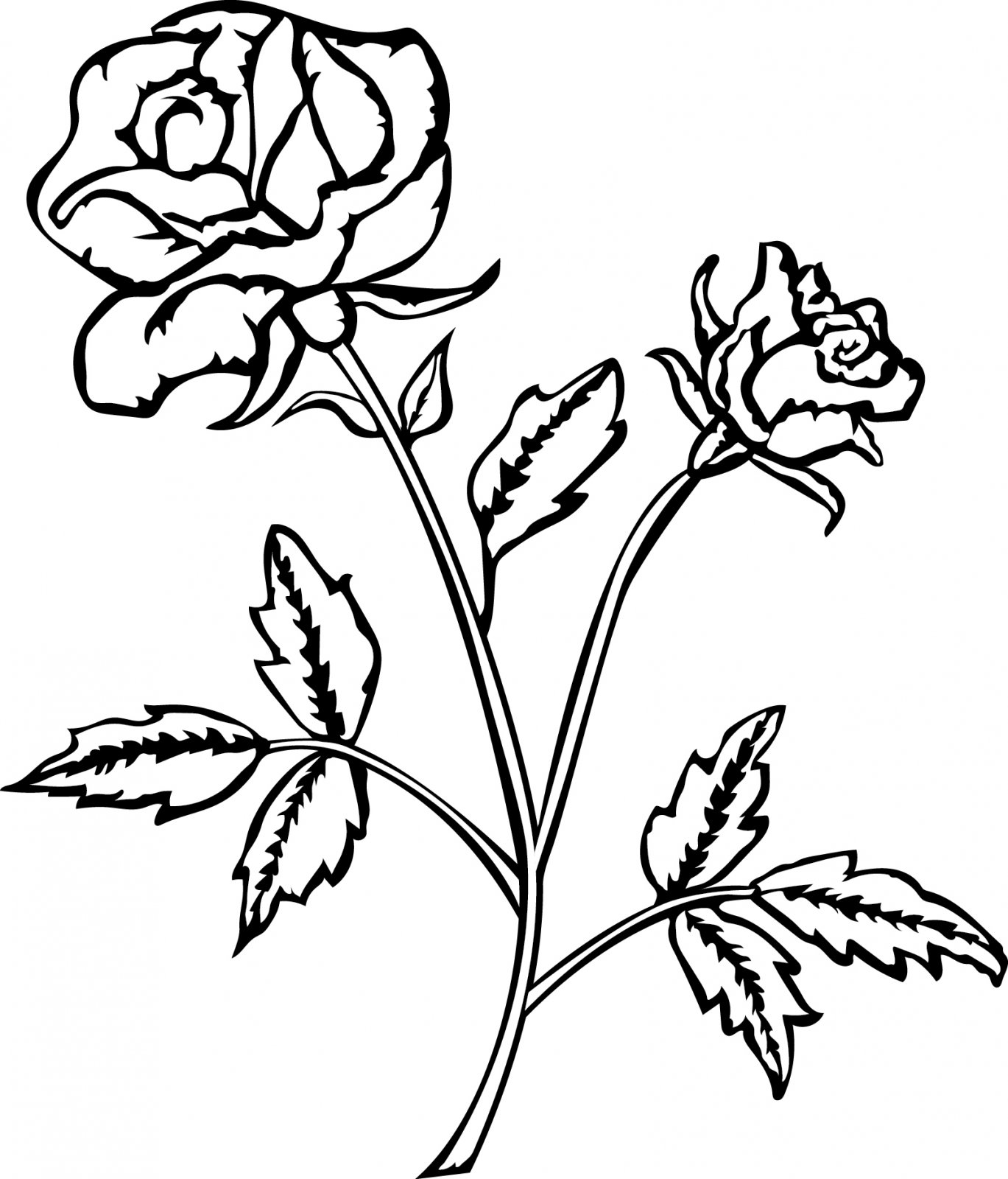 Cottage Rose Digi Stamp 1