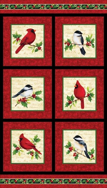 Cardinal Christmas by Northcott Studio Bird Panel 20061-24