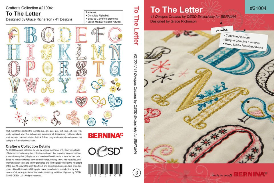 Bernina embroidery design cd to the letter