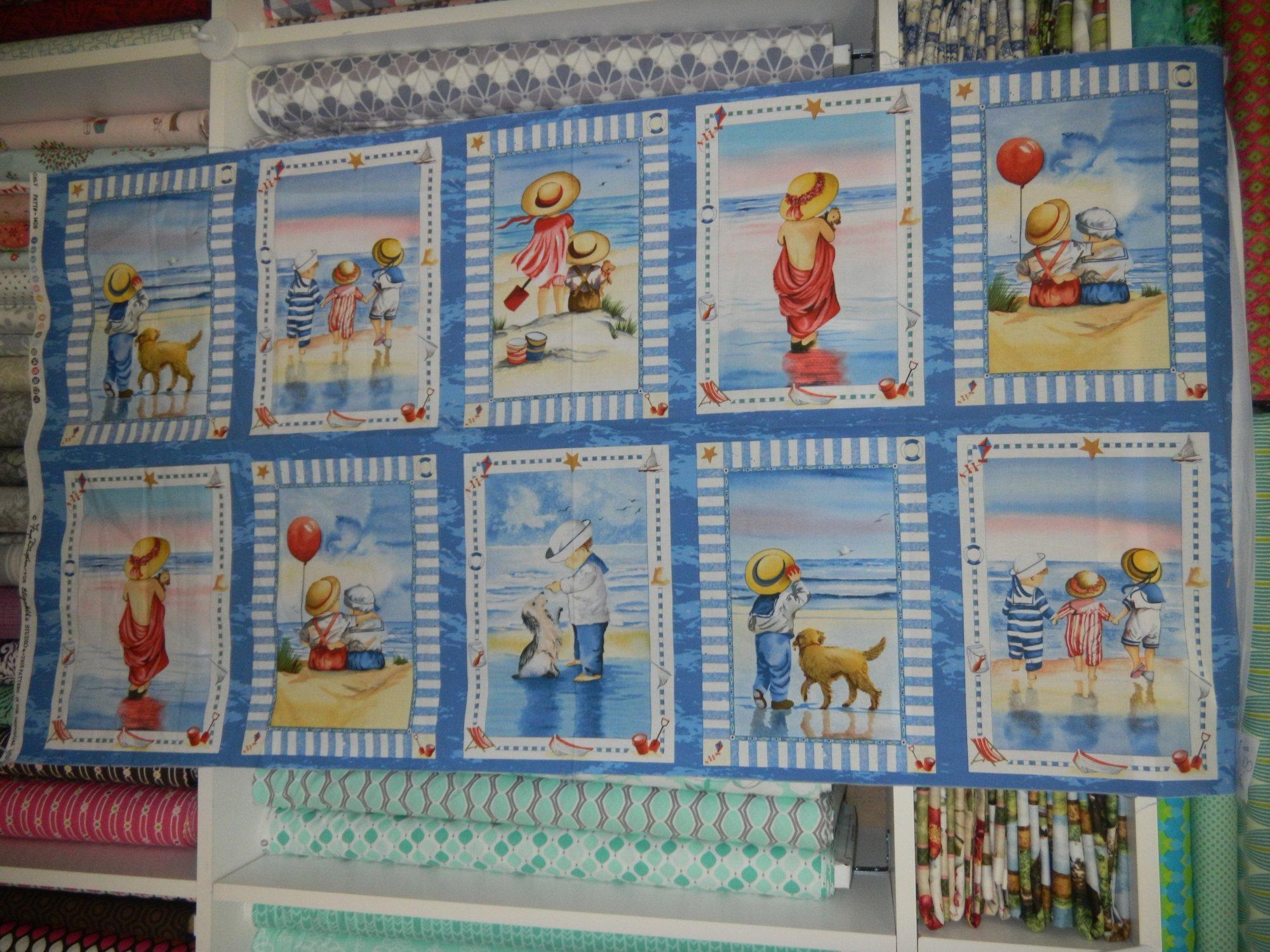 Panel 247 children on the beach travel for Children s fabric panels