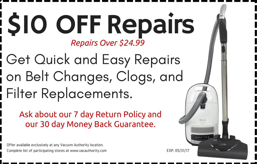 $10 Off Vacuum Authority Repairs