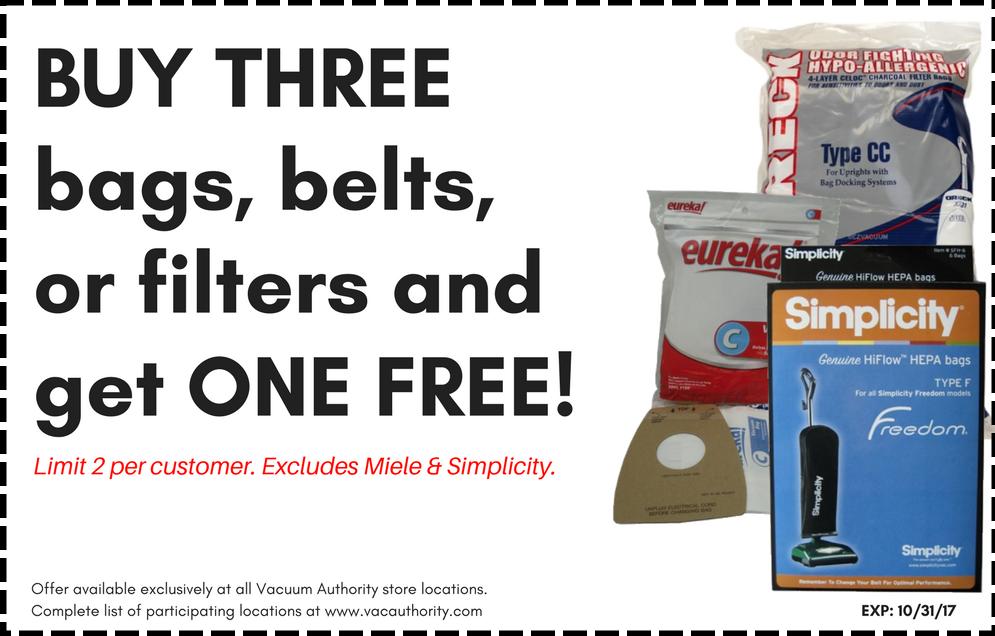 Buy 3, Get one Free Vacuum Authority