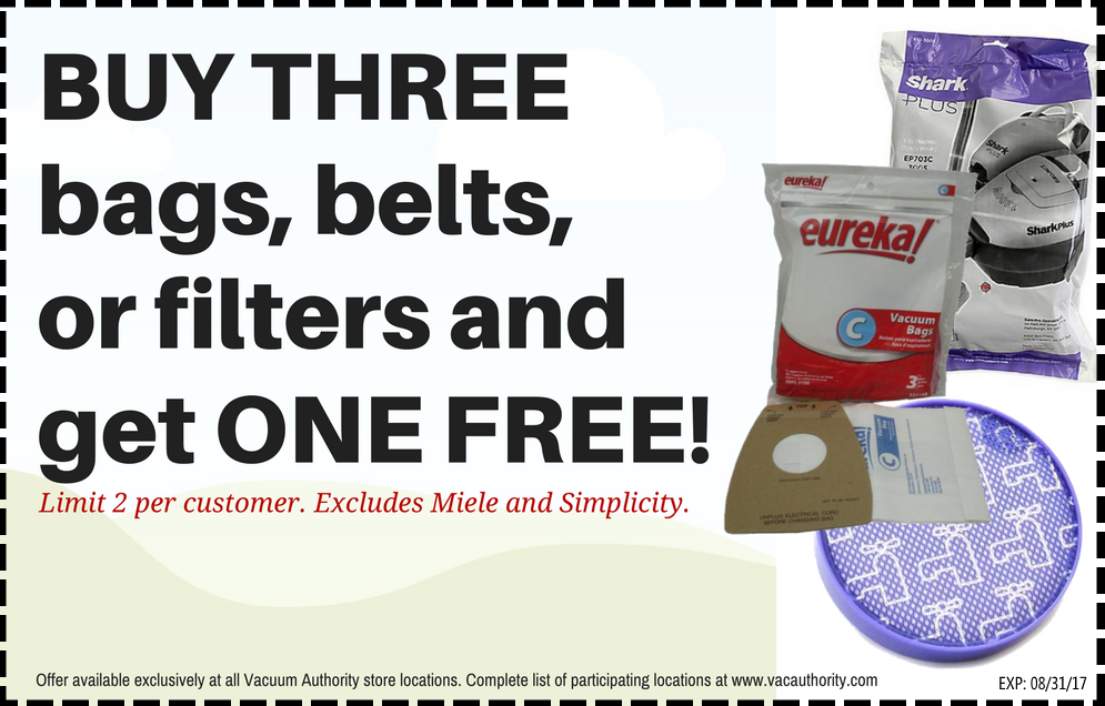 Buy 3, Get one Free Vacuum Authority