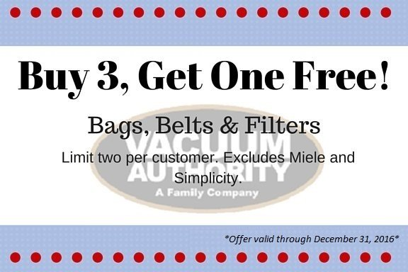 Buy 3 Get 1 Free on Vacuum Cleaner Bags at Vacuum Authority Stores