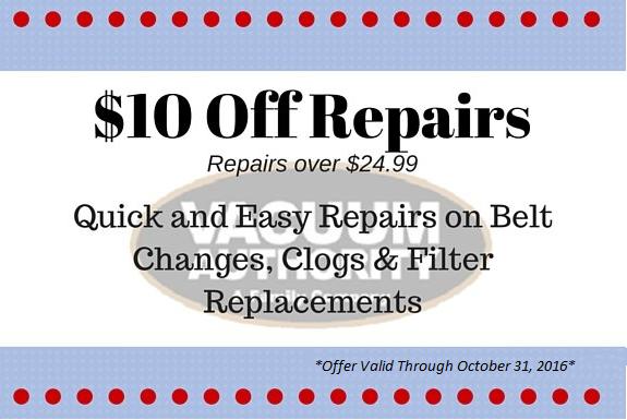 Get $10 Off Vacuum Cleaner Repairs at Vacuum Authority