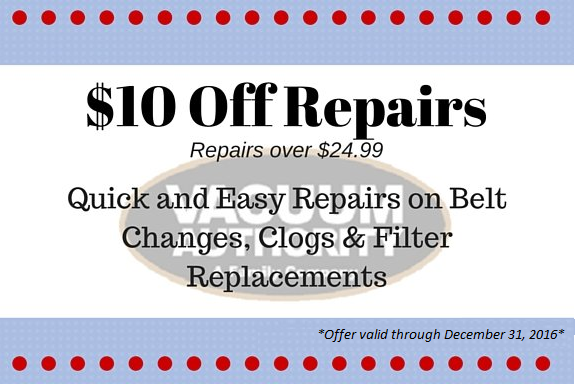 Get $10 Off Vacuum Cleaner Repairs at Vacuum Authority
